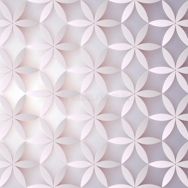 Blumen-Muster 3d Abstrakte Blumen mit Schatten Elegante Beschaffenheit, Vektorhintergrund Buntes modisches Design für Druck lizenzfreie abbildung