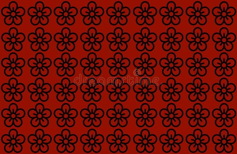 BLUMEN-MUSTER MIT ROTEM HINTERGRUND Blumenblätter entwerfen ausgestreuten klaren Hintergrund Benutzen Sie Artikel, Drucken, Illus lizenzfreies stockbild