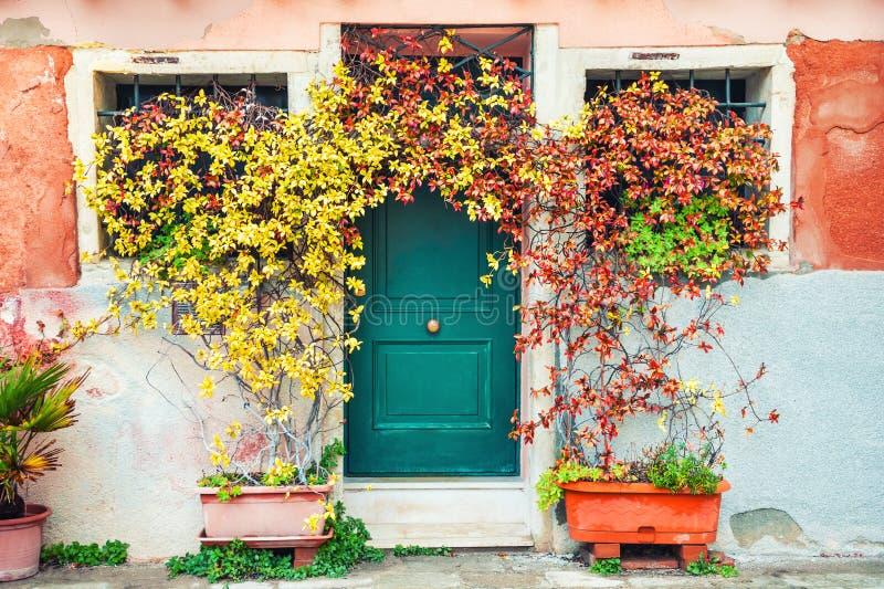 Blumen nahe der Tür des Hauses stockfoto
