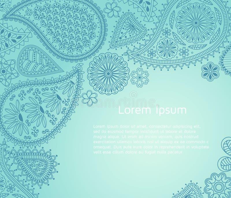 Blumen-Paisley-Hintergrund mit indischem ormament und Platz für Ihren Text lizenzfreie abbildung
