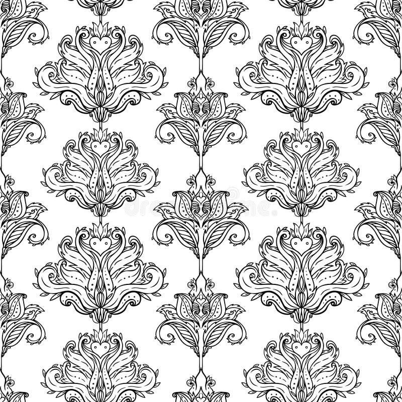 Blumen-Paisley spornte buntes aufwändiges nahtloses Muster des indischen Vektors an Retro- Hintergrund der dekorativen Art, aufwä stockfotografie