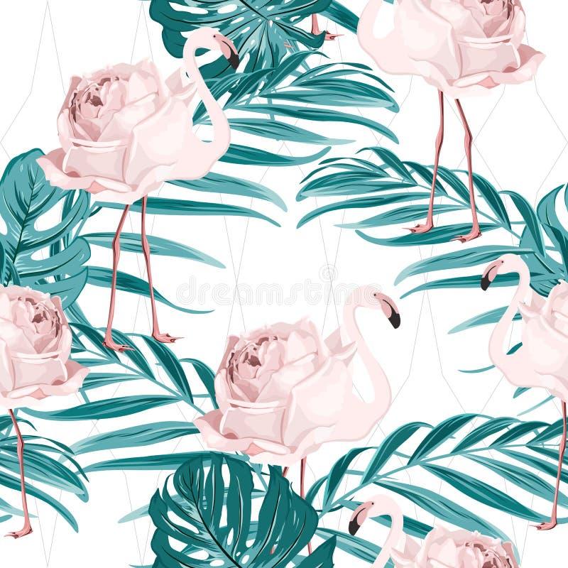 Blumen-Palmblattmuster des rosa Flamingovogels rosafarbenes vektor abbildung