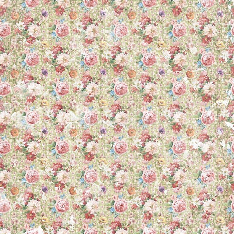 Blumen-Papierhintergrund der Weinlese antiker schäbiger, nahtlose Wiederholungsmusterbeschaffenheit lizenzfreie stockbilder