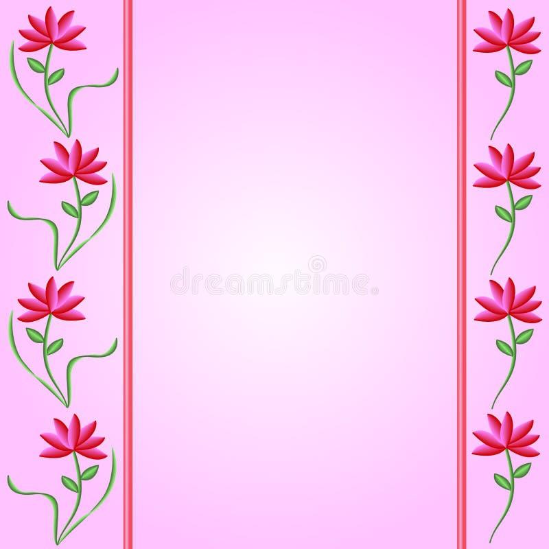 Blumen-Ränder auf rosafarbenem Steigung-Hintergrund stock abbildung