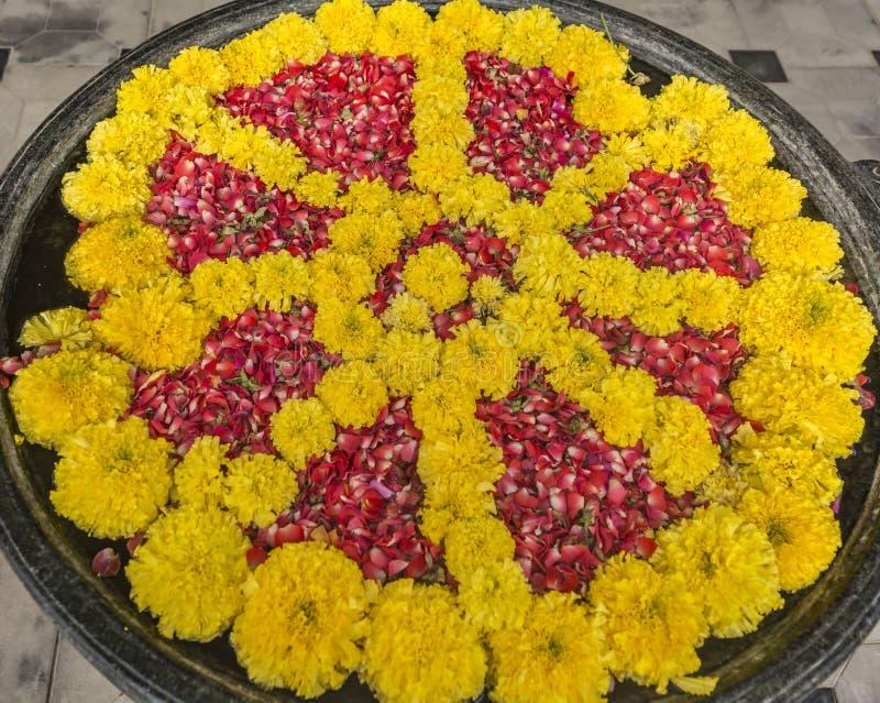 Blumen Rangoli - sich hin- und herbewegende Dekoration auf einer Wasser-Schüssel stockbilder