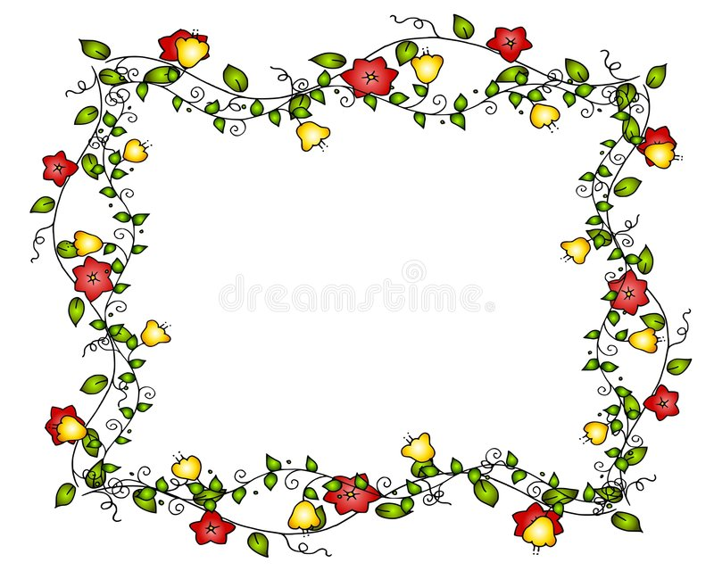 Blumen-Rebe-Feld oder Rand vektor abbildung
