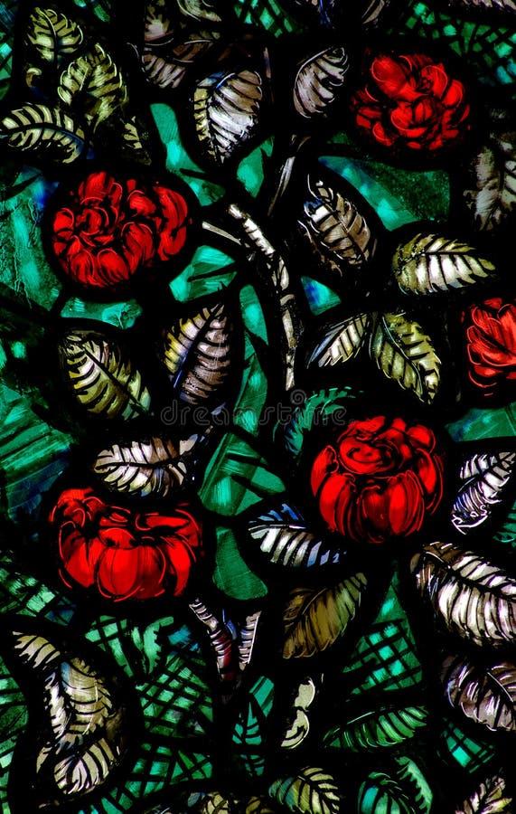Blumen (Rosen) im Buntglas lizenzfreies stockfoto