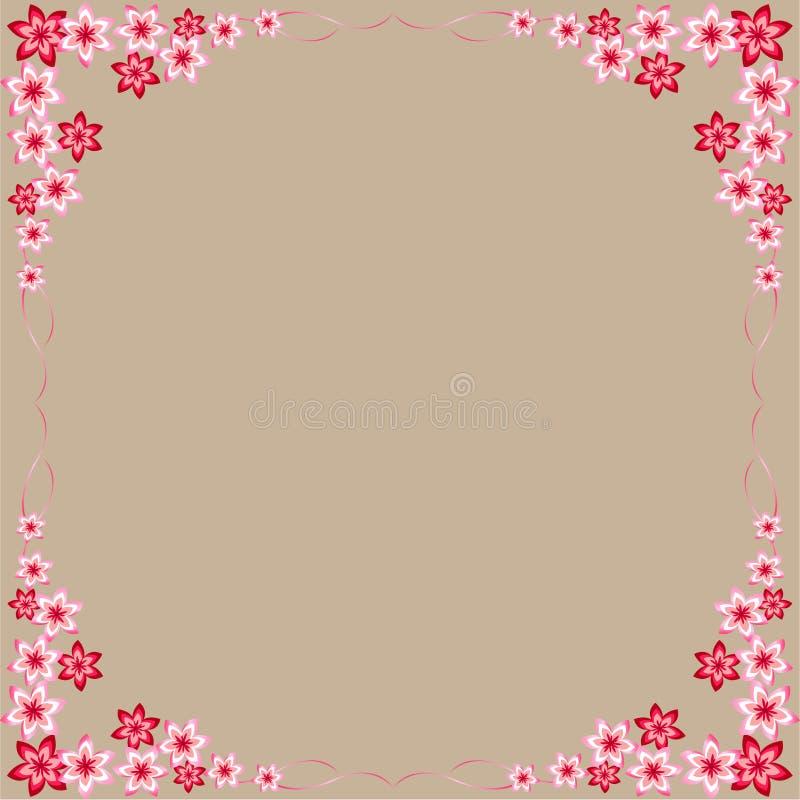 Blumen, Rot, Rosa, Rahmen, grauer Hintergrund, bunte Blumen, schöne, interessante Ideen für die Verzierung von Postkarten, für ir vektor abbildung