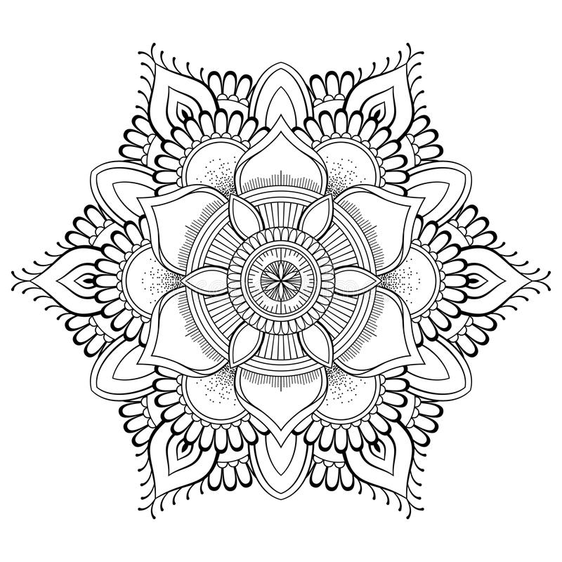 Blumen-schwarze Mandala Orientalisches Muster, Vektorillustration Islam, Arabisch, indische Osmanemotive Malbuchseite stock abbildung