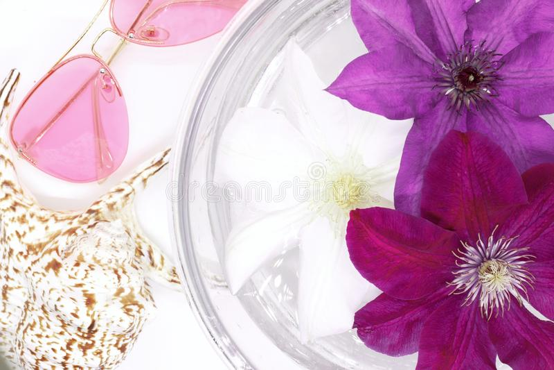 Blumen schwimmen in Wasser in einer Glasschüssel, rosa Sonnenbrille, das Oberteil des Babys, lizenzfreie stockfotografie