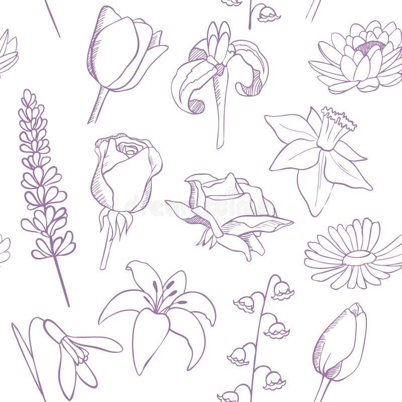 Blumen skizzieren nahtloses Vektormuster lizenzfreie abbildung