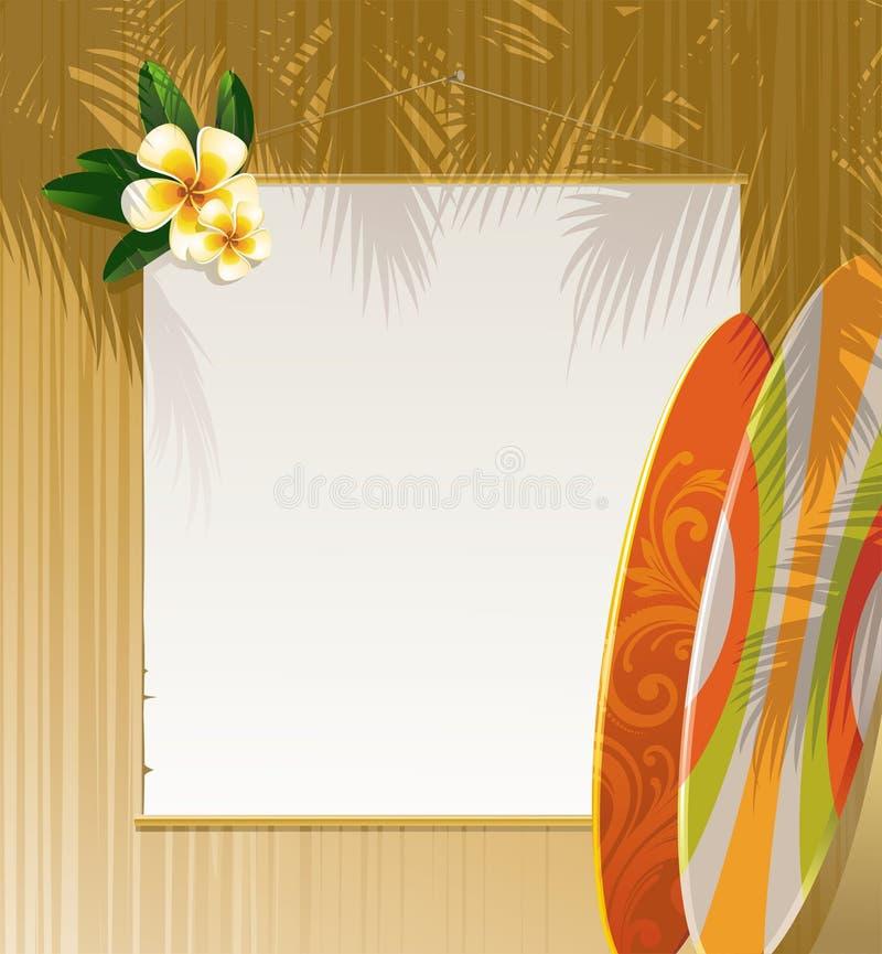 Blumen, Surfbretter und Fahne stock abbildung