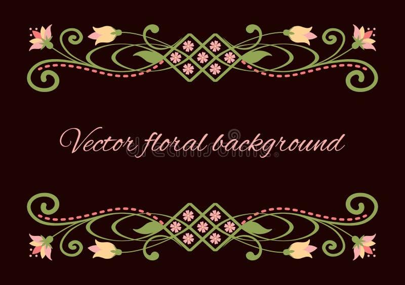 Blumen-swirly Rahmen lokalisiert auf dunkelbraunem Hintergrund vektor abbildung