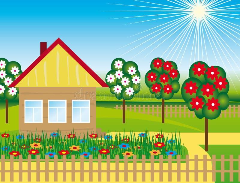 Blumen und Bäume nahe dem Haus lizenzfreie abbildung
