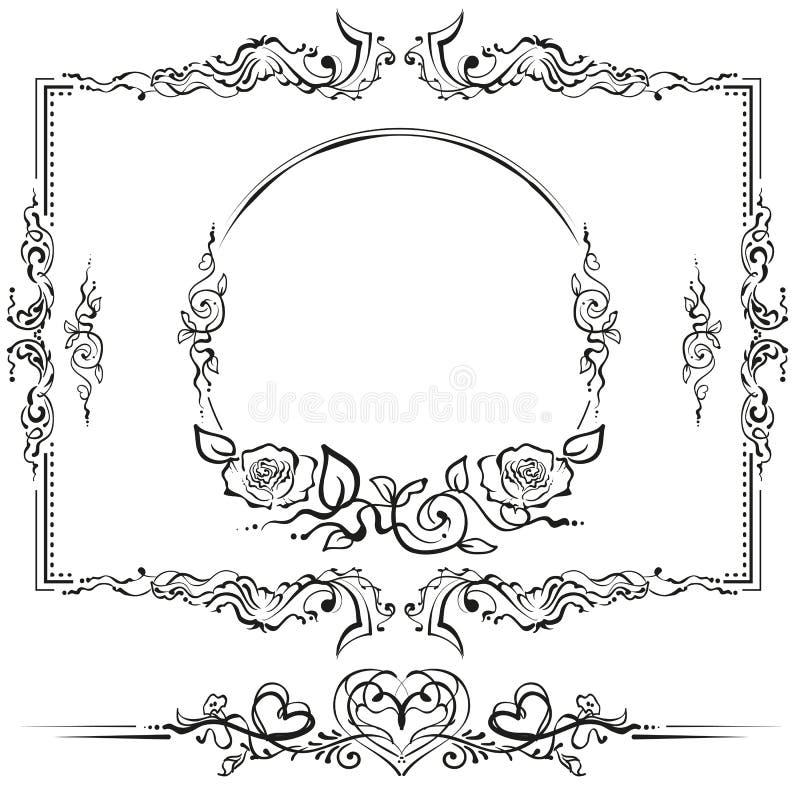 Blumen und Basisrecheneinheit Cartouche für Titel stock abbildung