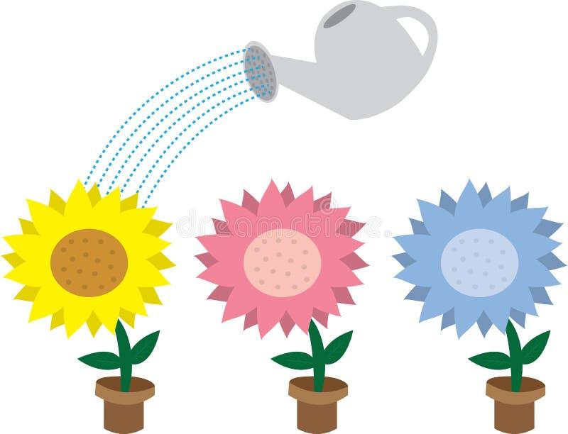 Blumen und Bewässerungsdose stock abbildung