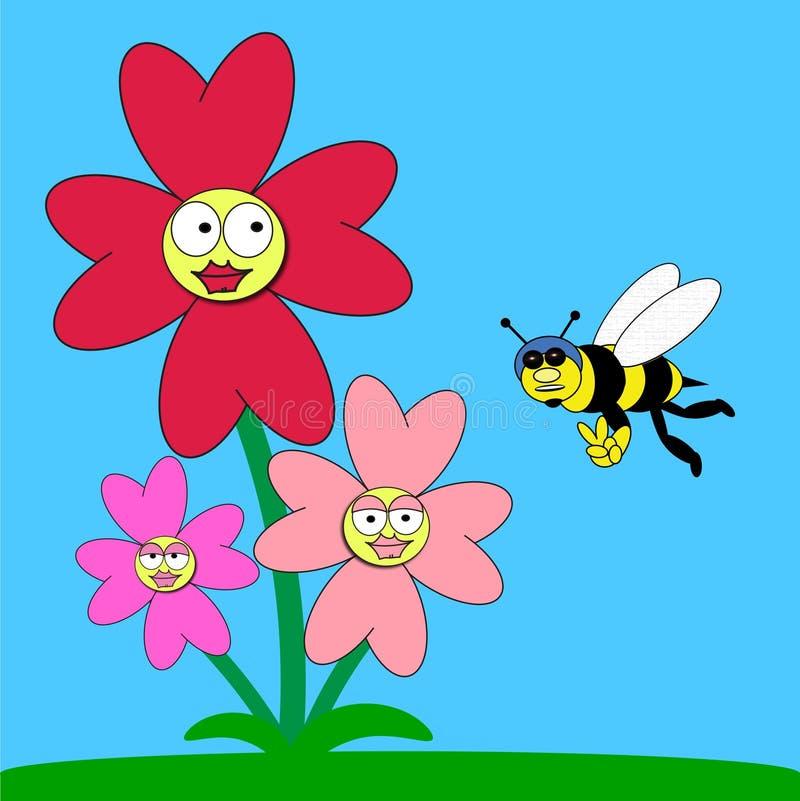 Blumen und Biene lizenzfreies stockfoto