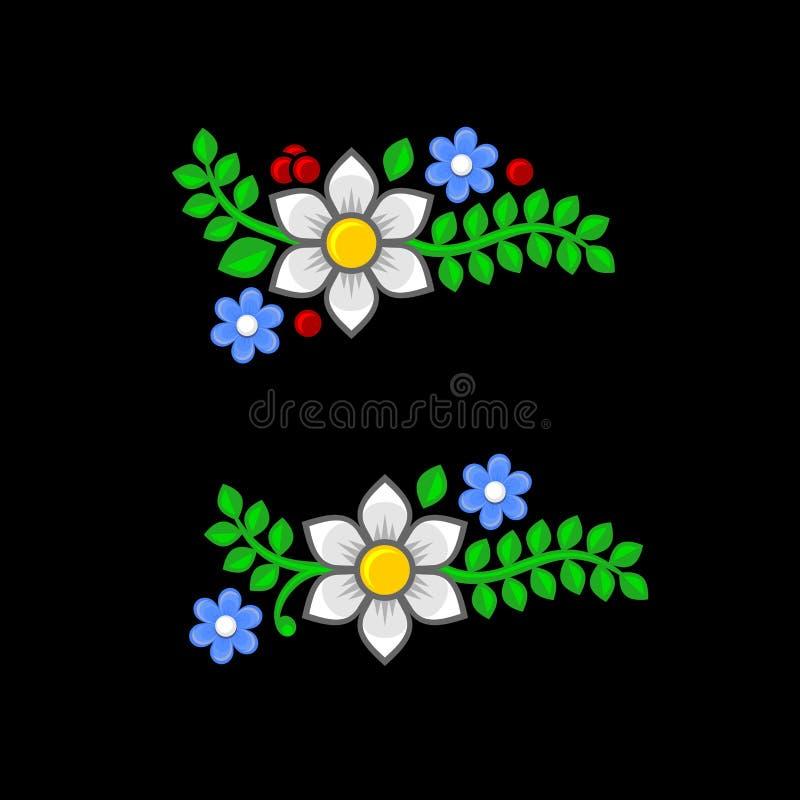 Blumen und Blätter eingestellt auf schwarzen Hintergrund Vektor lizenzfreie abbildung