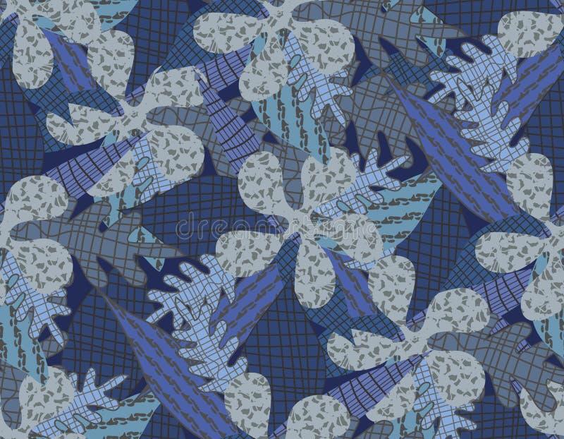 Blumen und Blätter von den Stücken des Stoffes Tropische Anlagen lizenzfreie abbildung