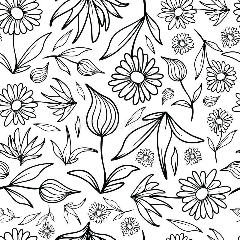 Blumen-und Blatt-Linie Art Pattern stockbilder