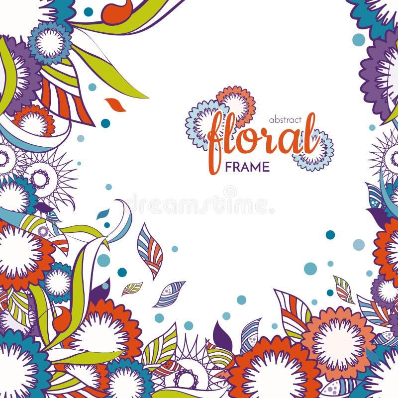 Blumen- und dekorativer Frühlingseinzelteil-Rahmenhintergrund Abstrakte Blumen bunt lizenzfreie abbildung