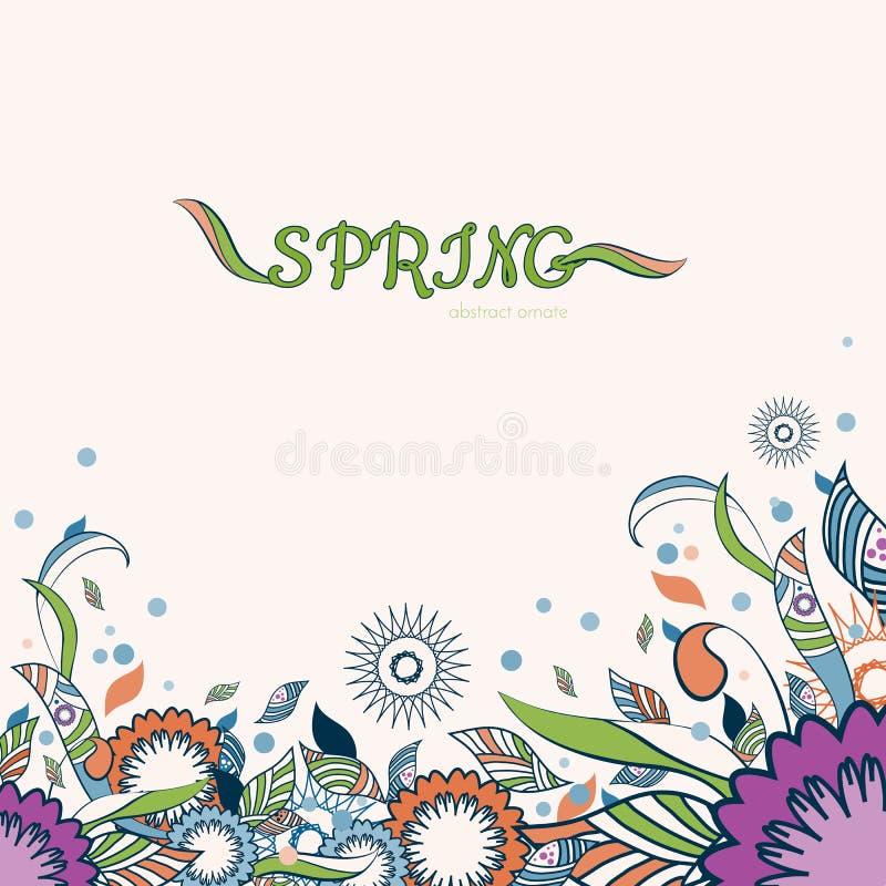 Blumen- und dekorativer Frühlingseinzelteilhintergrund Abstrakte Blumen bunt vektor abbildung