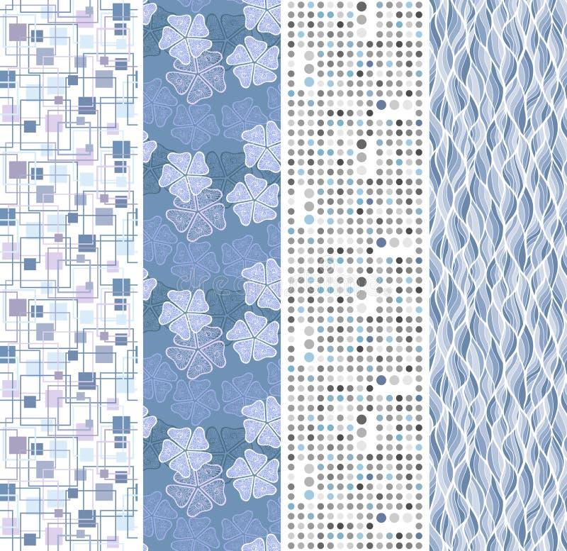 Blumen- und geometrische nahtlose Fahnen vektor abbildung