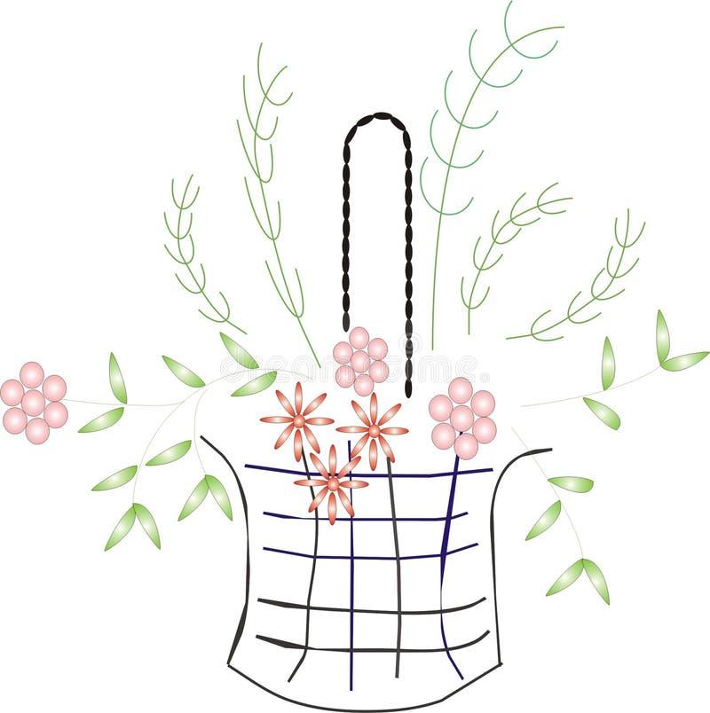 Blumen und Korb stock abbildung
