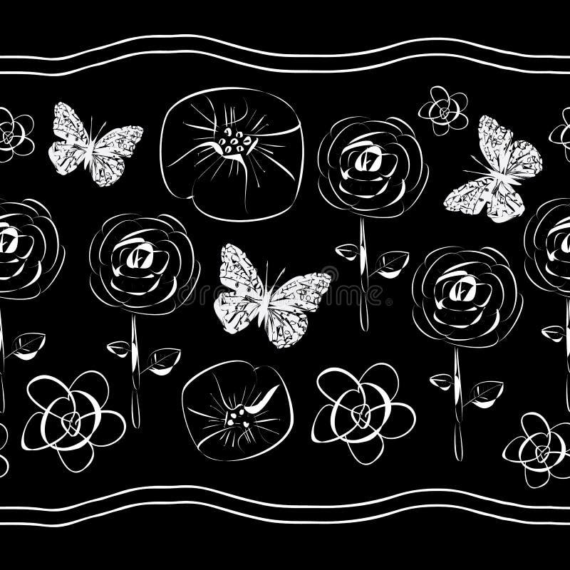 Blumen und Schmetterling-Blumen in Blüte seamles Wiederholungs-Muster Hintergrund in Schwarzweiss vektor abbildung