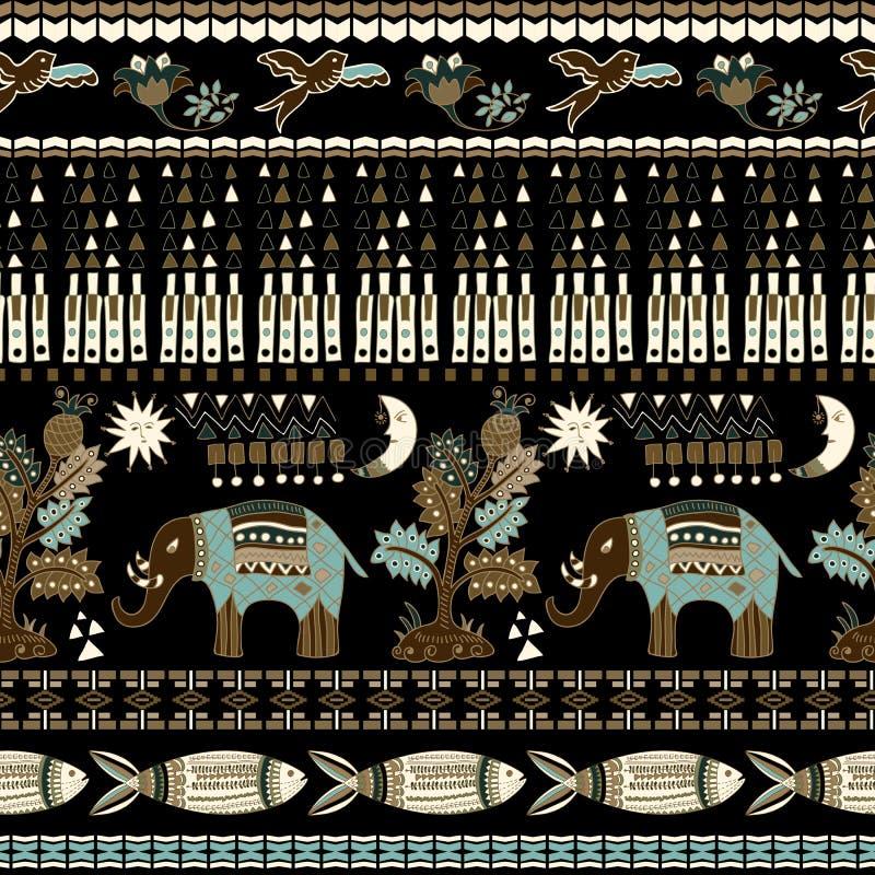 Blumen- und tierisches nahtloses Muster in Paisley-Art Dekorativer indischer Hintergrund stock abbildung
