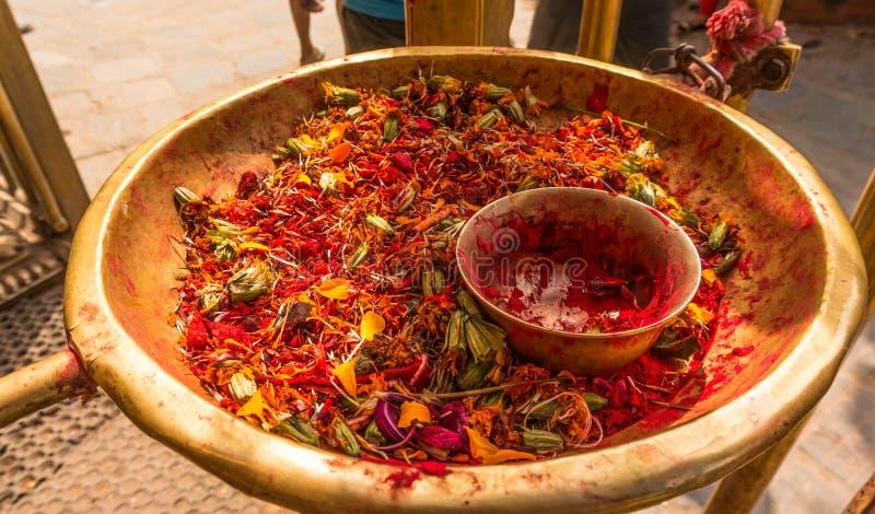Blumen und traditionelle Farbe für Festival Tihar Deepawali und neues Jahr Newari in Kathmandy lizenzfreies stockbild