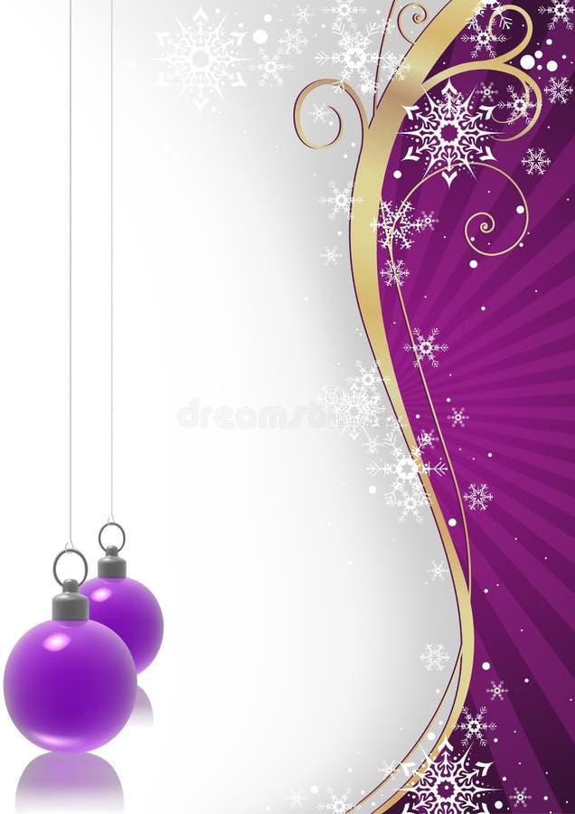 Blumen- und violette Weihnachtskugeln des Winters vektor abbildung