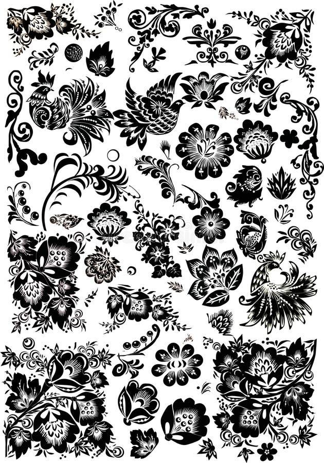 Blumen- und Vogelverzierungelemente stock abbildung