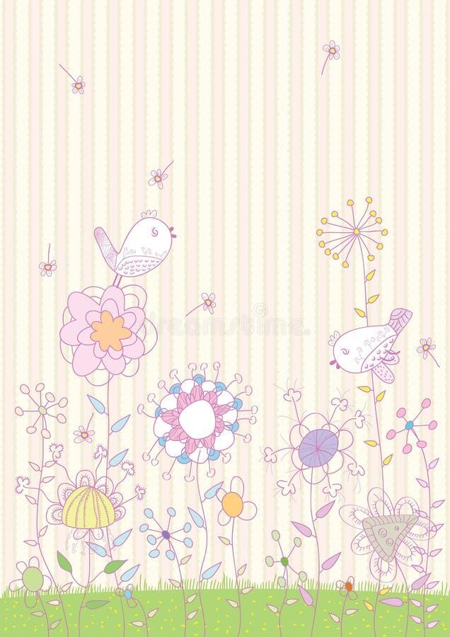 Blumen-Vogel-Land lizenzfreie abbildung
