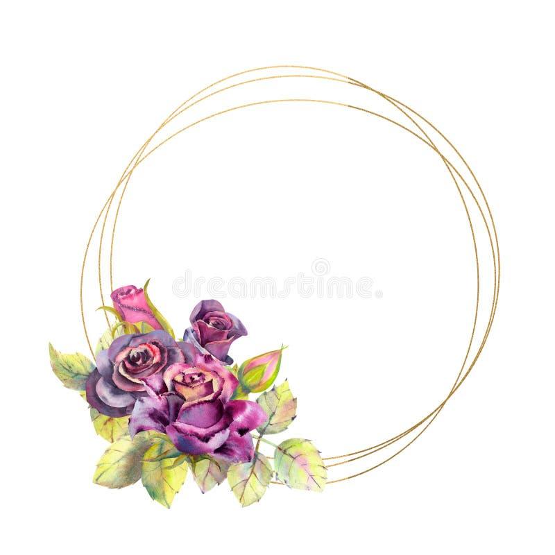 Blumen von dunklen Rosen, grüne Blätter, Zusammensetzung in einem geometrischen goldenen Rahmen Das Konzept der Heiratsblumen run stock abbildung