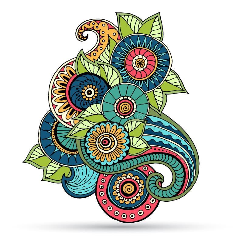 Blumen-zentangle, Gekritzelhennastrauchpaisley-mehndi Gestaltungselement stock abbildung