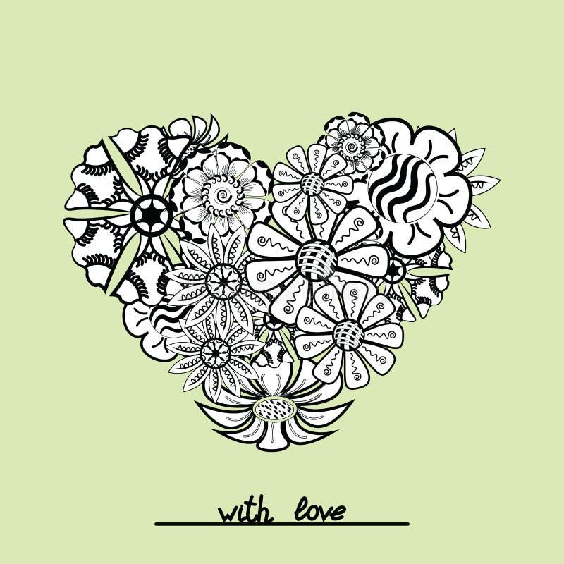 Blumen-zentangle Herzgegenstand im Vektor Handabgehobener betrag vektor abbildung