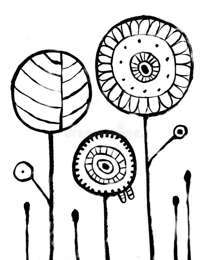 Blumen-Zusammenfassung Backround Schwarze Handgezogenes Bild auf Weiß lizenzfreie abbildung