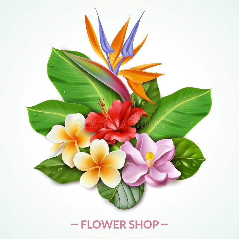 Blumen-Zusammensetzungsillustration Raelistic exotische lizenzfreie abbildung
