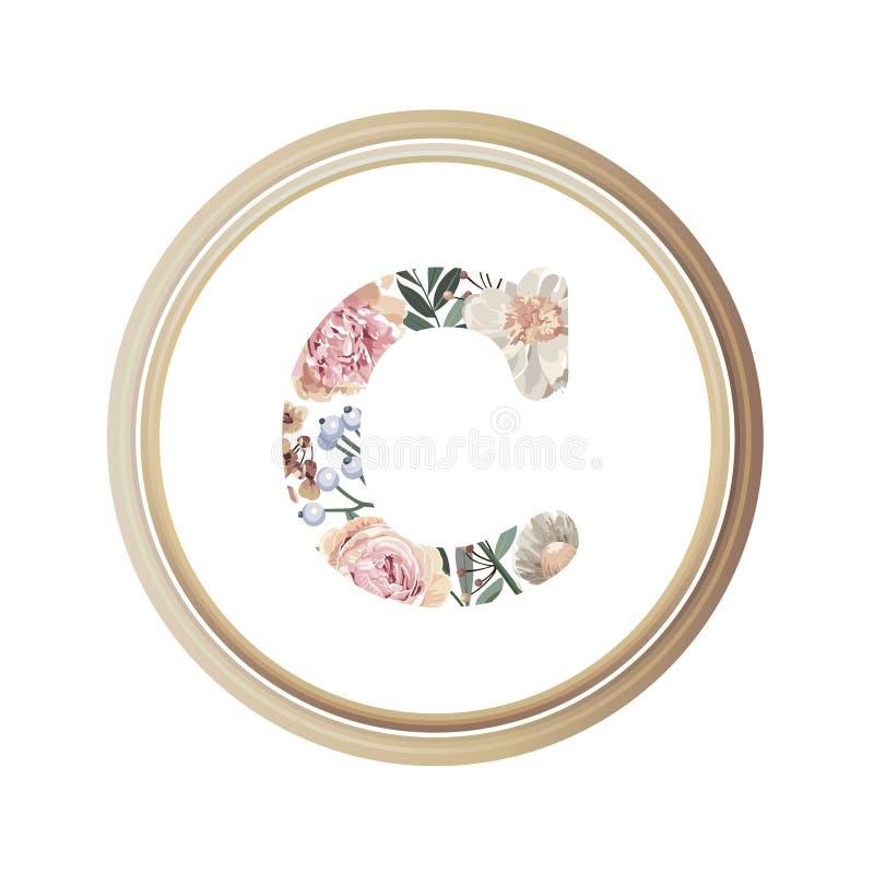 Blumenalphabet C des Romanze Grußkarten- und Blumen- und Blattvektors mit hölzerner Flamme des Kreises stock abbildung