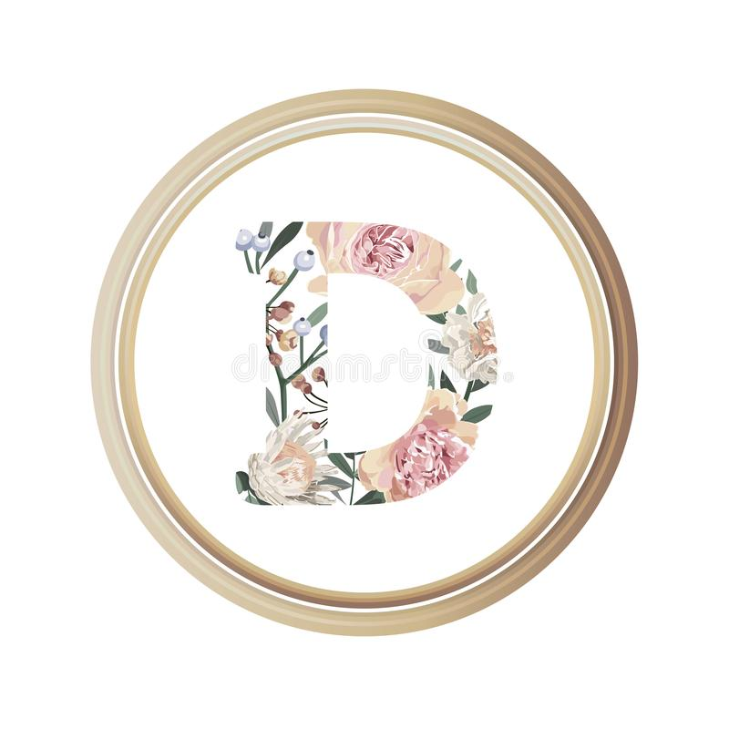 Blumenalphabet D des Romanze Grußkarten- und Blumen- und Blattvektors mit hölzerner Flamme des Kreises stock abbildung
