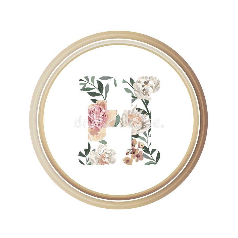 Blumenalphabet E des Romanze Gru?karten- und Blumen- und Blattvektors mit h?lzerner Flamme des Kreises vektor abbildung