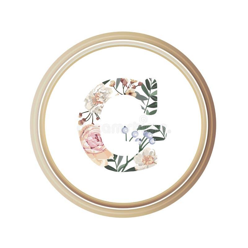 Blumenalphabet G des Romanze Grußkarten- und Blumen- und Blattvektors mit hölzerner Flamme des Kreises stock abbildung