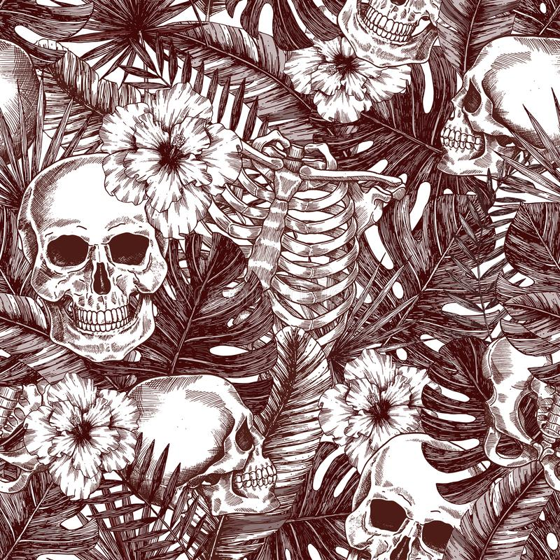 Blumenanatomie Nahtloses Muster tropischer Weinlese Halloweens Creppy-Dschungel-Schädelhintergrund lizenzfreie abbildung