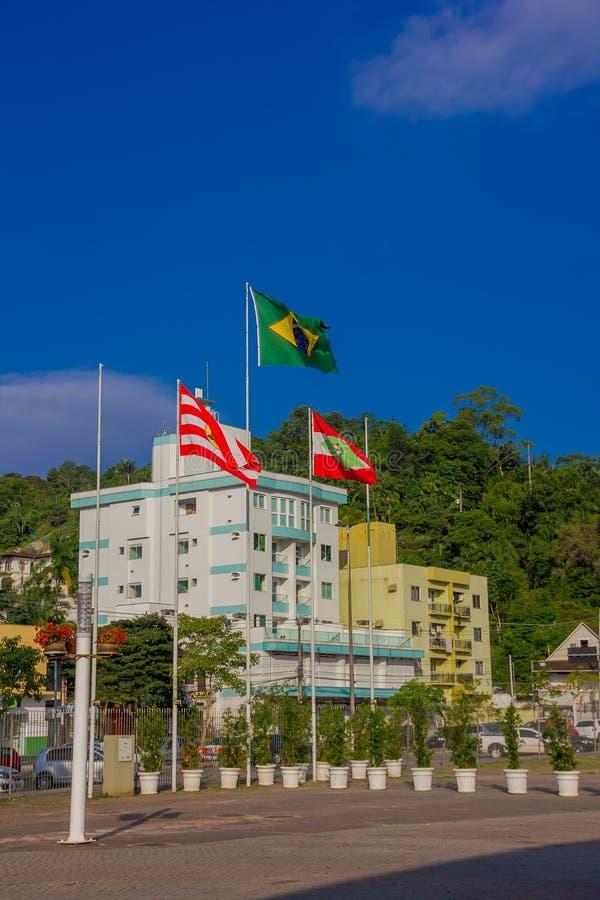 BLUMENAU BRASILIEN - MAJ 10, 2016: den brasilianska flaggan bredvid flaggan av tillståndet och staden som lokaliseras i en parker arkivbilder