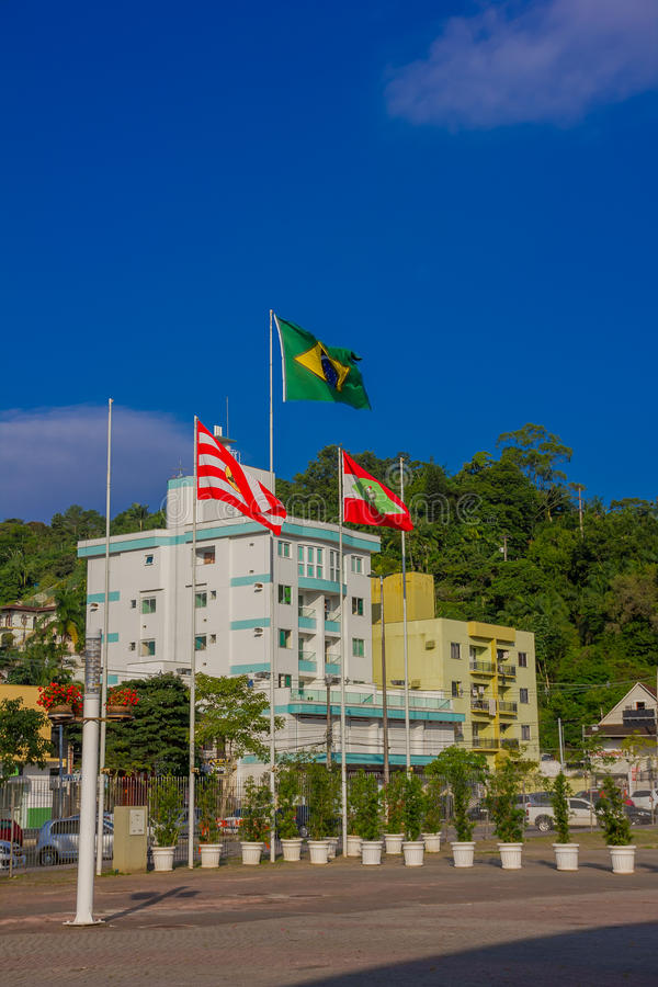 BLUMENAU, BRAZIL - MAY 10, 2016: the brazilian flag next to the flag of the state and the city located in a park of the city.  stock images