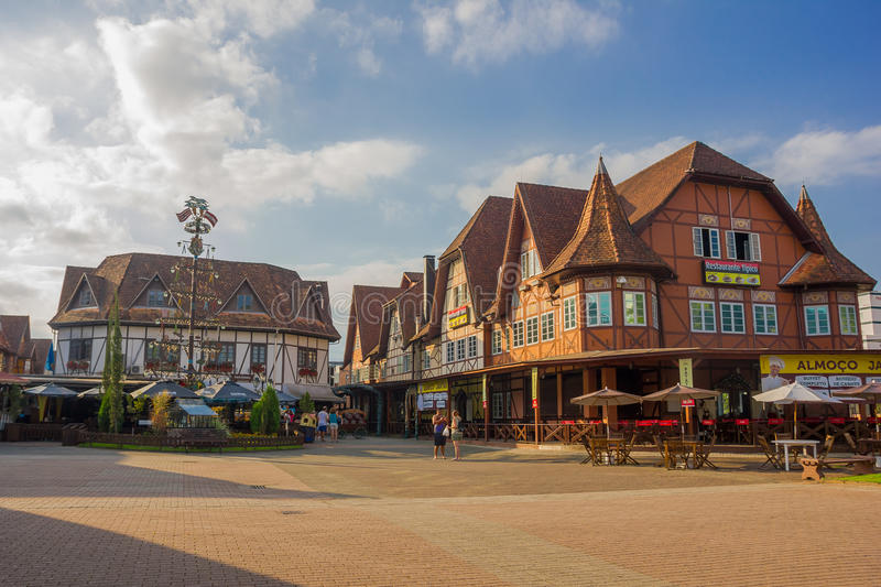 BLUMENAU, BRAZIL - MAY 10, 2016: the city center of blumenau located in the southern state of santa catarina.  royalty free stock image