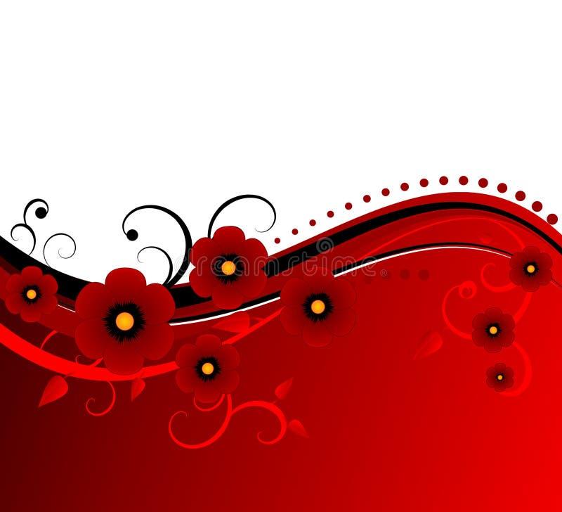 Blumenauslegung des Bluts roter vektor lizenzfreie abbildung