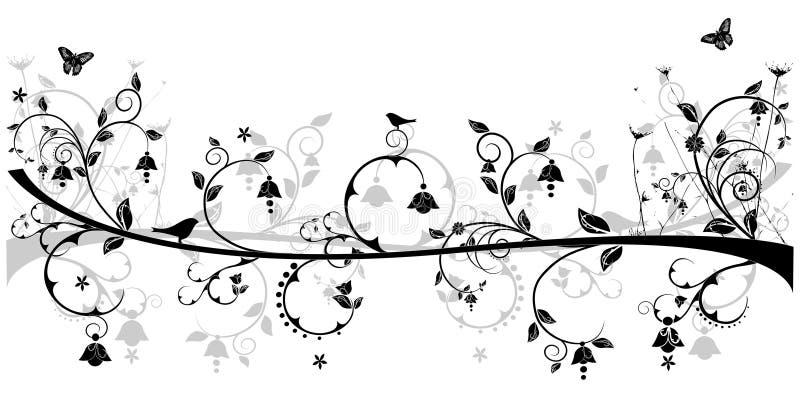 Blumenauslegung mit Vögeln lizenzfreie abbildung