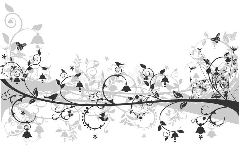 Blumenauslegung mit Vögeln und Basisrecheneinheiten vektor abbildung